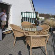 Ferienwohnung Duene Balkon mit Strandkorb